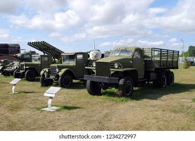 "City of Togliatti. Samara region. Russia.29 of August, 2015. AVTOVAZ. Technical museum of K.G. Sakharov. Exhibits of the museum Studebaker US6, GAZ-AA, ""Katyusha"" and the T-34 tank stand in a row."