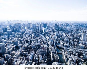 The city of Tokyo seen from above.