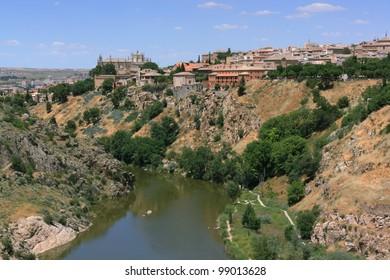 City of Toledo as seen from a bridge over River Tajo, Castilla-La Mancha, Spain