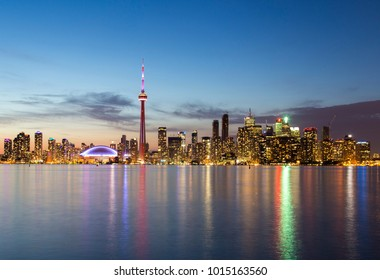 The city of Toronto, Canada. Seen from Olympic island on Lake Ontario.