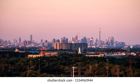 City of Toronto Skyline Seen from Mississauga at Sunset