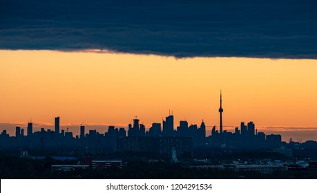City of Toronto Skyline Seen from Mississauga at Sunrise