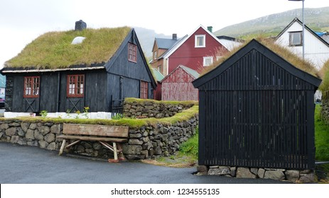 city of Torshavn, islands Faroe (Europe) : typical houses with peat roof.