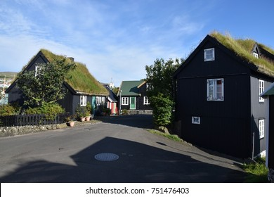 city of Torshavn, islands Faroer, Denmark (Europe) : typical houses with peat roof.
