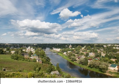 City Torzhok, Tver region. View of the city and river Tvertsa from the bell tower of the monastery of Sts