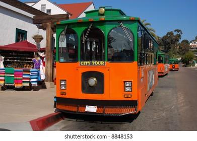 City tour vehicles; Old Town; San Diego, California