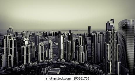 City towers facing the sun.