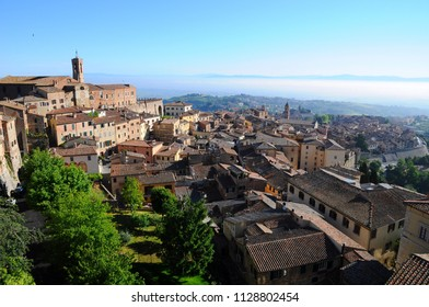 The City Town and landscape of Montepulciano at sunrise in the morining  in Tuscany, Italy