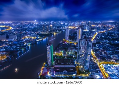City town at night, Bangkok, Thailand