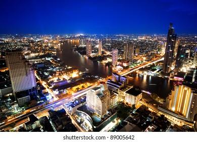 City town at twilight, View Point on a Sky Bar at Sirocco, Bangkok, Thailand