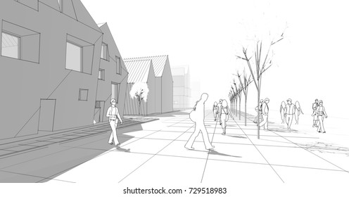 City, townhouse, 3d illustration