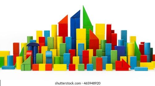 City Toy Blocks, Tower Building Color Houses, Wooden Town, White Isolated with Clipping Path