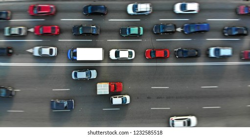 City traffic jam on a highway. Blurred. Aerial.