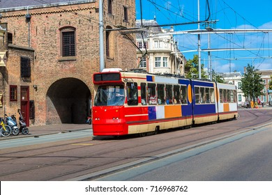 City tram in Hague in a beautiful summer day, The Netherlands