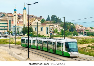 City tram and a mosque in Constantine - Algeria, North Africa