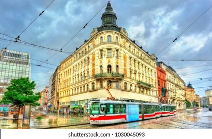 City tram in the old town of Brno - Moravia, Czech Republic