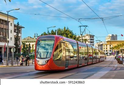 City tram on a street of Casablanca in Morocco