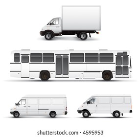 City transport bus truck car grayscale template