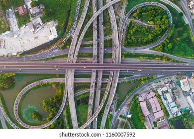 City transport junction road aerial view with car movement, Transport industry