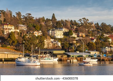 City and transportation along Tamar river, Launceston, Tasmania, Australia