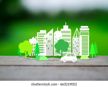 city and tree in ecology and environment concept, photographic mixed with illustration
