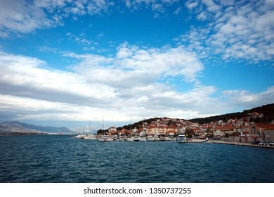 City of Trogir background sea view.