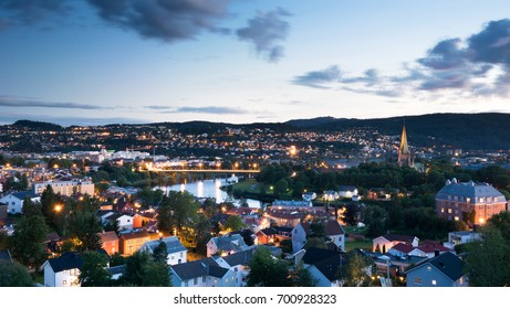 City of Trondheim at sunset, Norway in summer