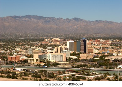 City of Tucson, AZ, taken October 31, 2009. In this photo the University of Arizona is visible, along with the Catalina Mountains.