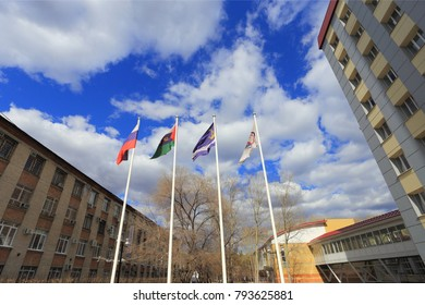 The city of Tyumen, Russia, April 19, 2014: Flags of the Tyumen Medical   academy. Educational buildings.
