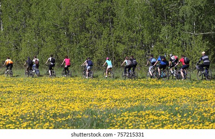 City of Tyumen, Russia, May 21, 2016: A large team of bicycle riders in blossoming fields. Traditional spring opening of the cycling season for Tyumen cyclists.