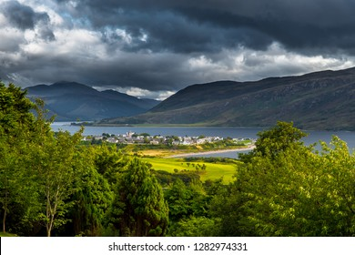 City Of Ullapool And Loch Broom At The Atlantic Coast In Scotlan