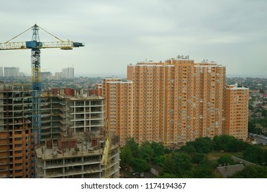 city under construction in rainy cloudy day
