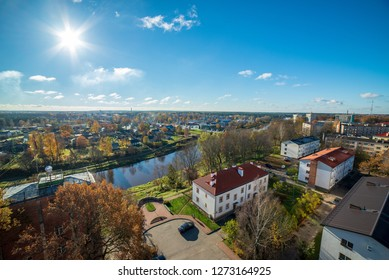 City of Valmiera in Latvia from above. panoramic image of urban area