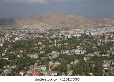 City of Van view from Van Castle in Eastern Anatolia, Turkey.
