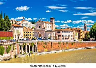 City of Verona Adige riverfront view, colorful architecture of tourist destination in Veneto region, Italy