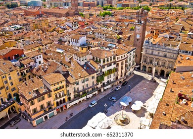 City of Verona aerial view from Lamberti tower, rooftops of old town, Veneto region of Italy