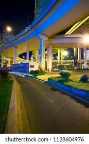 City viaduct bridge road streetscape of night scene in shanghai