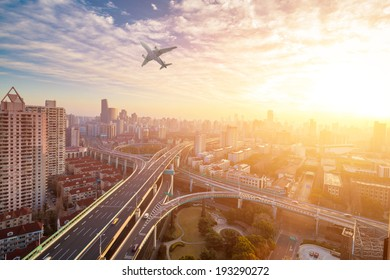 city viaduct junction at dawn in sunrise at shanghai