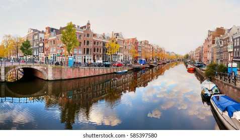 City view of Amsterdam with canals and bridges