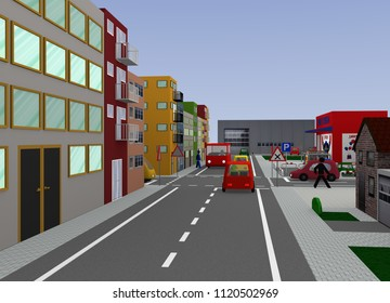 City view with busy intersection: right before left. 3d rendering
