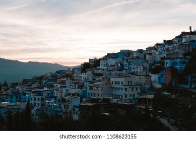 City View of Chefchaouen, Morocco during Warm Sunset