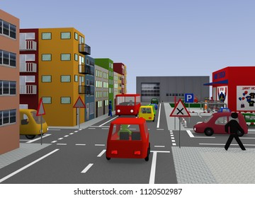 City view with crossing: right before left. 3d rendering