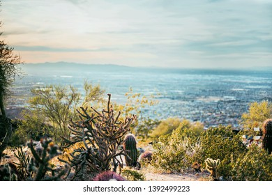 City view from desert mountain top