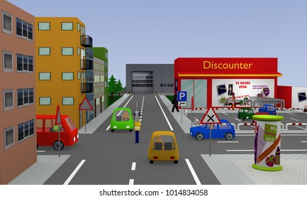 City view with discounter, parking, cars, street signs and policeman with stop sign which regulates the traffic and still shows waiting. 3d rendering