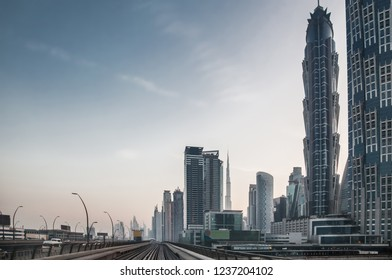 City view of Downtown skyline along Sheikh Zayed road from the metro.
