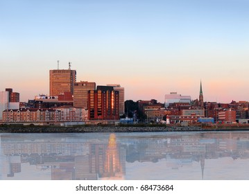 City view of dowtown area of Saint John, New Brunswick, Canada with reflection in the evening at sunset