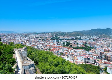 City view from the fortress of Malaga. Spain.