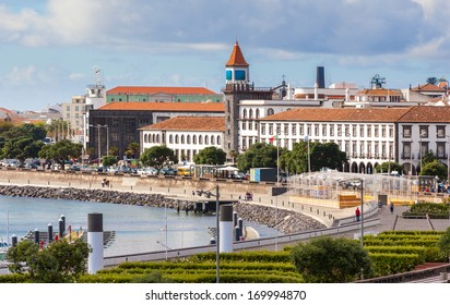 City view with harbor at Ponta Delgada, capital city of the Azores at Sao Miguel Island