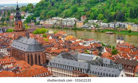 City View of Heidelberg, Germany from Heidelberg's Castle