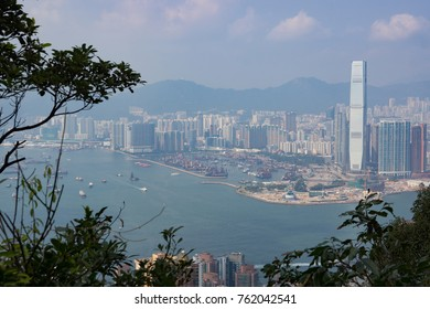 City view of high rise buildings and Pearl River from the Peak walk in Central, Hong Kong Island.